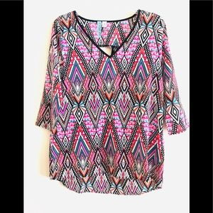 Tops - Multicolored Tribal Print Top Size M